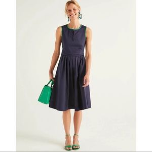 Boden 2021 Maddie Dress - Navy Green Piping 6R NWT